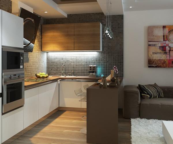 Барная стойка может бять как стационарной-часть стены, так и отдельным фрагментом на кухне