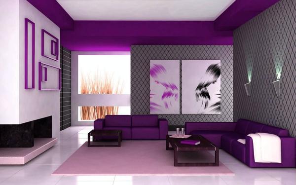 Оформление интерьера зала комбинированными обоями подчеркнет акценты и придаст помещению изюминку