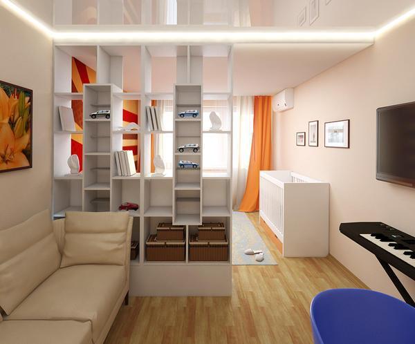 Визуально разделить зоны в помещении можно при помощи креативного потолка и цветового оформления