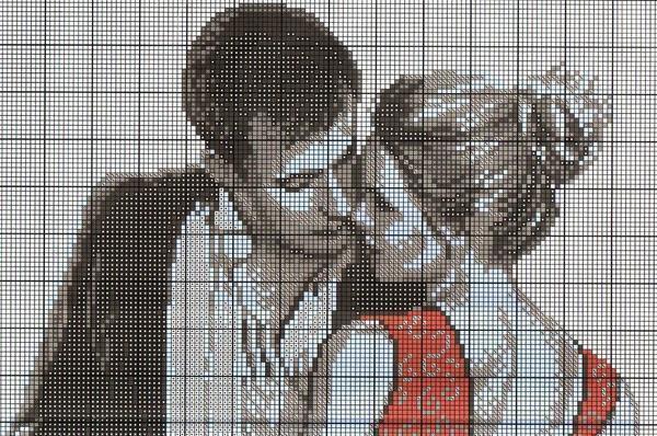 Вышитая композиция влюбленной пары хорошо впишется в интерьер спальни, где влюбленные ежедневно смогут ею наслаждаться