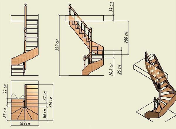 Перед началом возведения винтовой лестницы следует составить ее чертеж на бумаге, указав размеры всех элементов