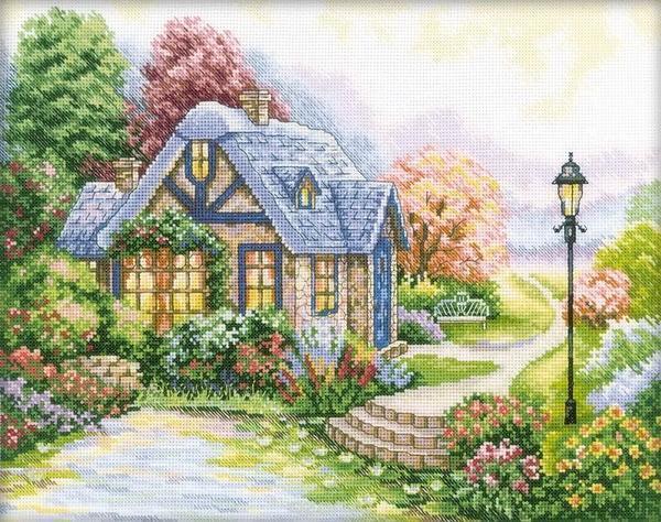 Для вышивания дома по схеме лучше использовать яркие цвета ниток