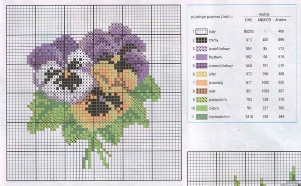 На схеме зачастую указывается цвет нитей, которые следует использовать при вышивании
