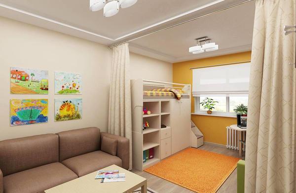 Перед тем как обустраивать гостиную-детскую, необходимо заранее составить план будущей комнаты и тщательно продумать интерьер