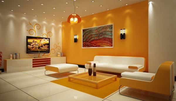 Используя жидкие обои, стенам зала можно визуально придать объем и рельеф