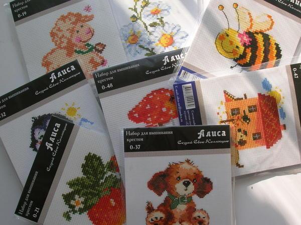 В детских наборах для вышивания можно встретить мультяшных и сказочных персонажей