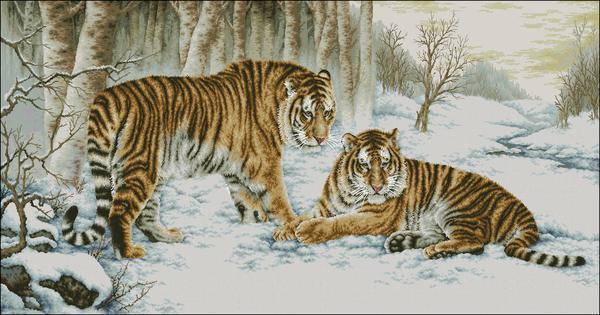 Помимо светлого фона, тигры очень органично смотрятся на картине с темным фоном