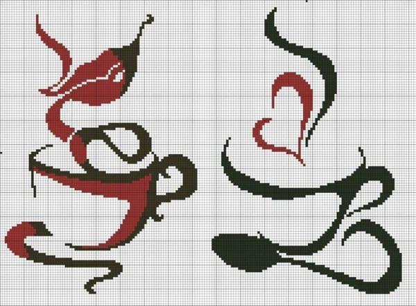 Кофейные схемы вышивки крестиком идеально украсят вашу кухню