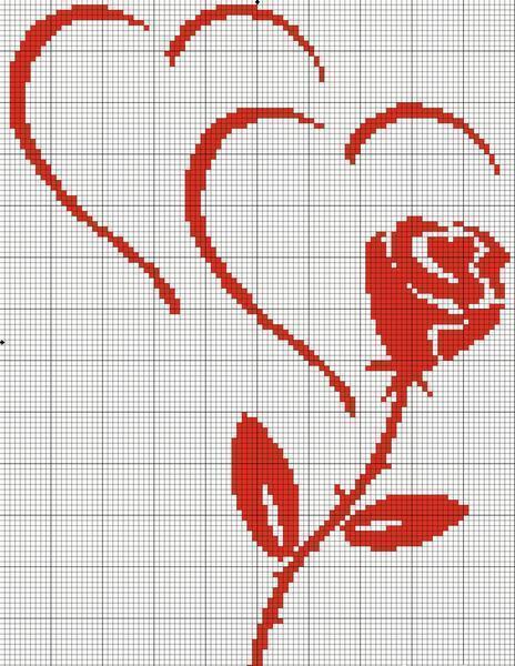 Самая простая схема для вышивания розы выполняется в монохроме