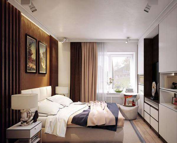 Наиболее удачно маленькая спальня будет смотреться в бежевом цвете
