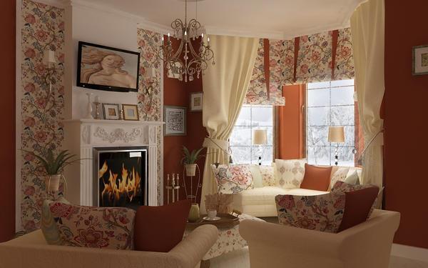 Оформить зал и провести зонирование в частном доме помогут разные по цвету и фактуре обои