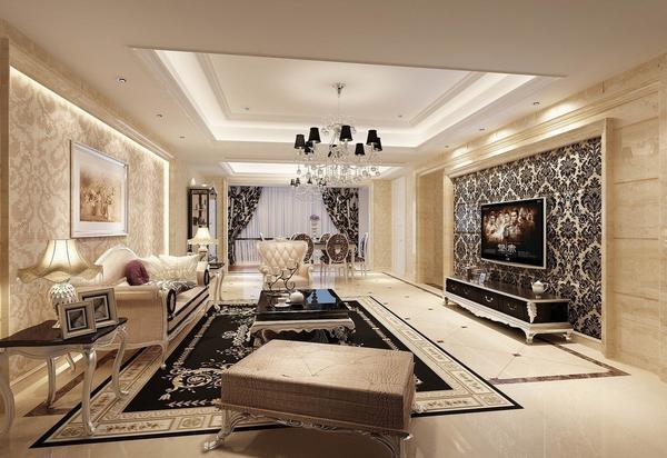 Модные дизайнерские обои и удачное сочетание цветов создадут неповторимый образ зала