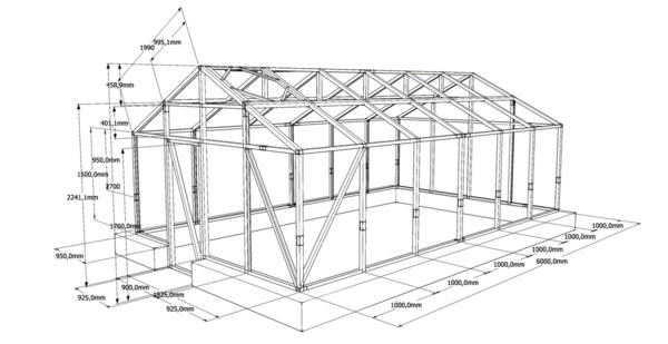 Прежде чем строить теплицу из бруса своими руками, необходимо подготовить подробную схему, по которой будет легко посчитать количество необходимого материала