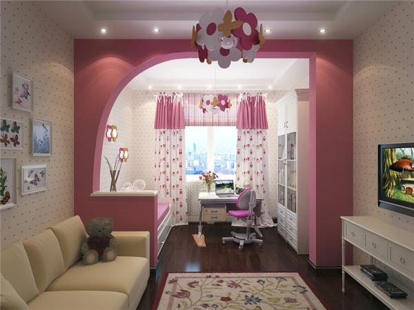 Оригинально разделить гостиную и детскую поможет красивая гипсокартонная перегородка