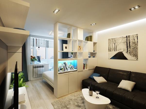 Зонирование с помощью шкафов или стеллажей является наиболее функциональным вариантом планировки комнаты