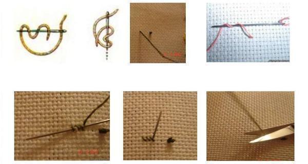 Основные способы закрепления нити на ткани при вышивании
