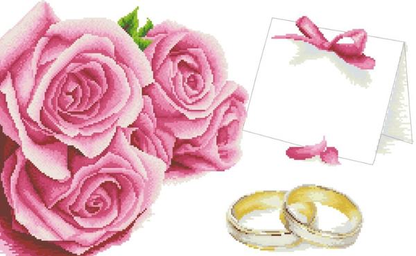 Вышить на свадебной метрике можно цветы, сердца или кольца, главное, чтобы сделано это было с любовью
