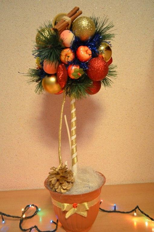 Оригинальный топиарий, сделанный своими руками, как нельзя лучше подойдет для украшения интерьера перед Новым Годом