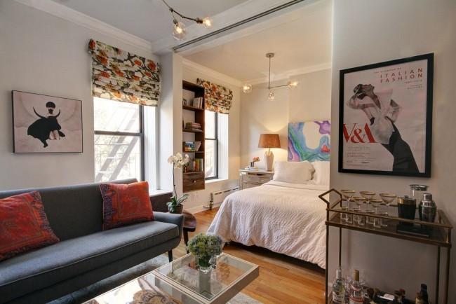 Даже в условиях ограниченного пространства можно с успехом обустроить в квартире спальную зону, совместив ее с гостиной