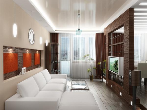 Зонирование гостиной даст возможность увеличить пространство комнаты